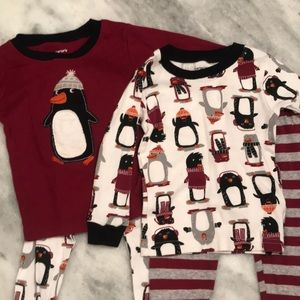 Two Carter's 18mos long sleeve pajama sets